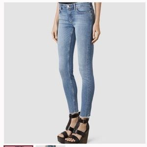 All Saints Mast Fit Blue Skinny Denim Jeans